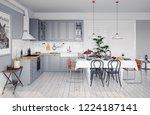 modern style design kitchen... | Shutterstock . vector #1224187141