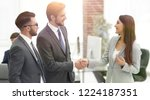 businesswoman introduce... | Shutterstock . vector #1224187351