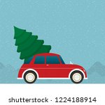 flat vector car driven by the... | Shutterstock .eps vector #1224188914