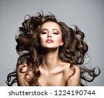 beautiful  woman with long...   Shutterstock . vector #1224190744