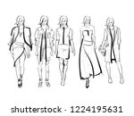 sketch. fashion girls on a... | Shutterstock .eps vector #1224195631