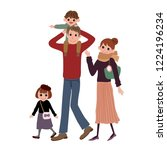 4 people family shopping... | Shutterstock . vector #1224196234