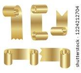 set of golden scroll vector... | Shutterstock .eps vector #1224212704