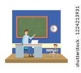 male teacher with boy in the... | Shutterstock .eps vector #1224213931