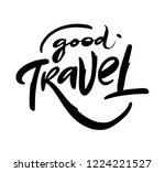 travel hand drawn sing. black... | Shutterstock .eps vector #1224221527