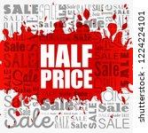 half price sale word cloud... | Shutterstock .eps vector #1224224101