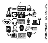 loud music icons set. simple... | Shutterstock .eps vector #1224233347