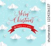 paper art designs for winter.... | Shutterstock .eps vector #1224236137