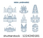 simple set of india landmarks... | Shutterstock .eps vector #1224240181