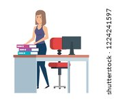 beautiful woman in the office... | Shutterstock .eps vector #1224241597