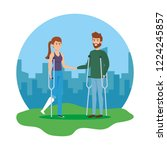 couple with crutches characters | Shutterstock .eps vector #1224245857