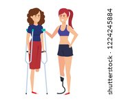 women with crutches and... | Shutterstock .eps vector #1224245884