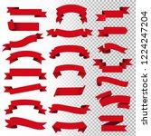 retro red web ribbon set | Shutterstock . vector #1224247204