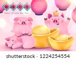 chinese new year with chubby... | Shutterstock . vector #1224254554