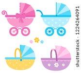 baby girl and baby boy...   Shutterstock . vector #1224264091