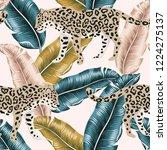 tropical leopard animal  banana ... | Shutterstock .eps vector #1224275137