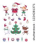 christmas set. cute santa ... | Shutterstock .eps vector #1224281371