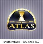 golden badge with hourglass...   Shutterstock .eps vector #1224281467