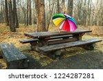 multi colored umbrella is on... | Shutterstock . vector #1224287281