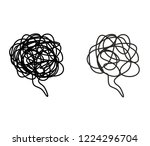 stressed thoughts bubble. black ... | Shutterstock .eps vector #1224296704