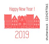 happy new year 2019 card....   Shutterstock .eps vector #1224297061