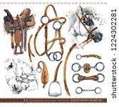 equestrian sport set. harness... | Shutterstock . vector #1224302281