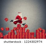 santa claus goes fast over... | Shutterstock . vector #1224302974