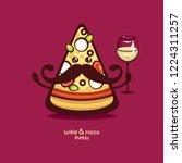 mister pizza. funny cartoon... | Shutterstock .eps vector #1224311257