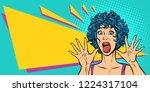 woman panic  fear  surprise... | Shutterstock .eps vector #1224317104