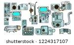 retro science. cyberpunk robots ... | Shutterstock .eps vector #1224317107