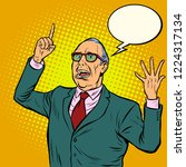 old man emotional speaker. pop...   Shutterstock .eps vector #1224317134