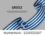 waving ribbon with flag of... | Shutterstock .eps vector #1224322207
