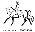 a logo of a dressage horse and... | Shutterstock .eps vector #1224334084