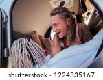 long hair. close up of man with ... | Shutterstock . vector #1224335167