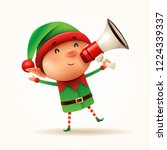 little elf with megaphone.... | Shutterstock .eps vector #1224339337