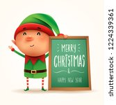 little elf with message board.... | Shutterstock .eps vector #1224339361