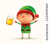 little elf with beer. isolated. | Shutterstock .eps vector #1224339364