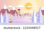 winter landscape in sunset... | Shutterstock .eps vector #1224348517