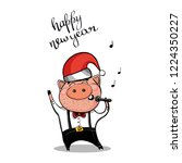 brutal pig sings a song in...   Shutterstock .eps vector #1224350227