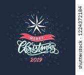 christmas hand drawn lettering  ... | Shutterstock .eps vector #1224372184