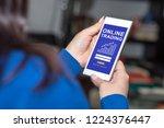 smartphone screen displaying an ... | Shutterstock . vector #1224376447