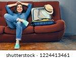 happy smiling woman preparing... | Shutterstock . vector #1224413461