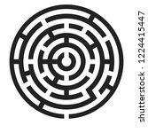 maze. black round puzzle.... | Shutterstock .eps vector #1224415447