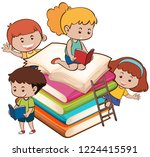 children with the book... | Shutterstock .eps vector #1224415591