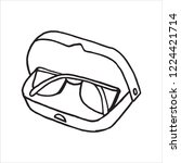 doodle icon glasses in case. a... | Shutterstock .eps vector #1224421714