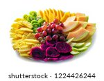 fruit tray red pitaya dragon... | Shutterstock . vector #1224426244
