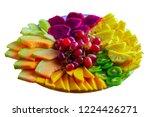 fruit tray red pitaya dragon... | Shutterstock . vector #1224426271