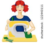 the woman sewing on the sewing... | Shutterstock .eps vector #122443111
