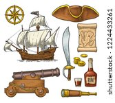 set pirate adventure. cannon ... | Shutterstock .eps vector #1224433261