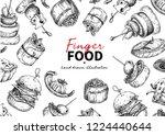 finger food vector frame... | Shutterstock .eps vector #1224440644